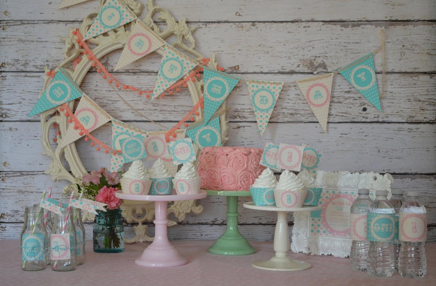 Shabby Chic Green Turquoise Pink Girly Polka