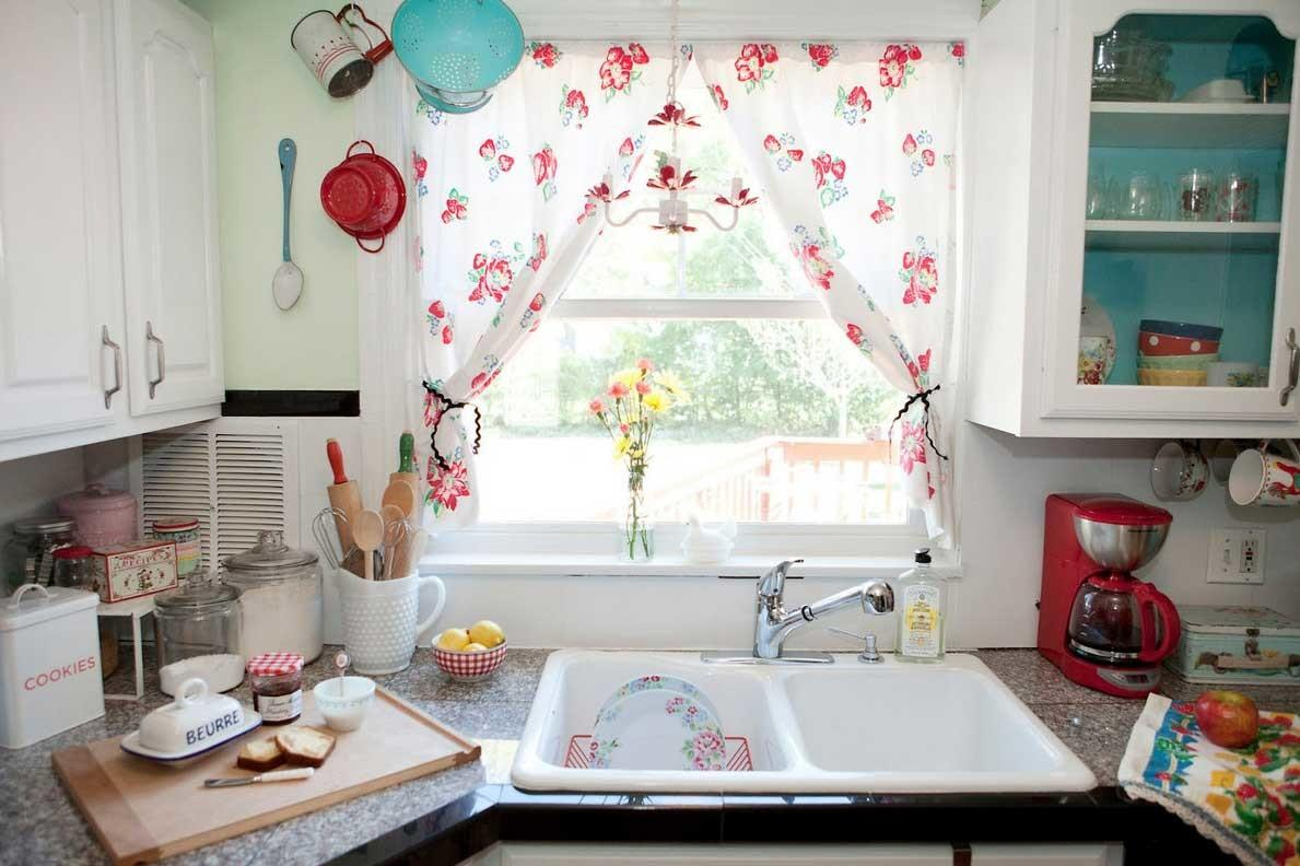 Shabby Chic Kitchen Curtains Red Floral Pattern Ideas