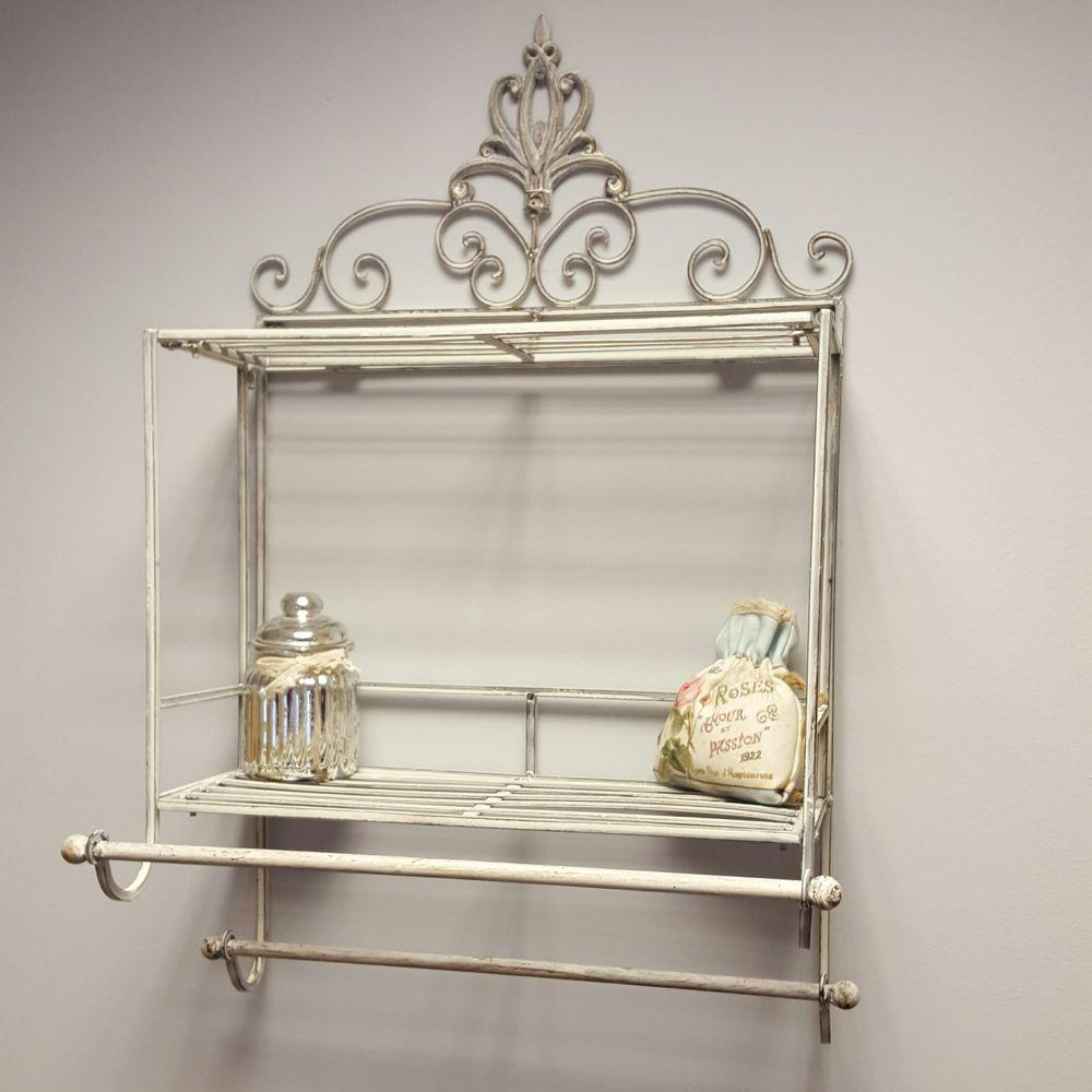 Shabby Chic Metal Wall Shelf Towel Rail Rack Storage