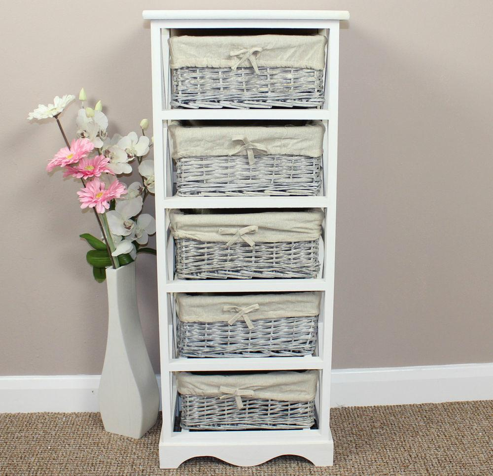 Shabby Chic Painted Storage Chest Wicker Basket