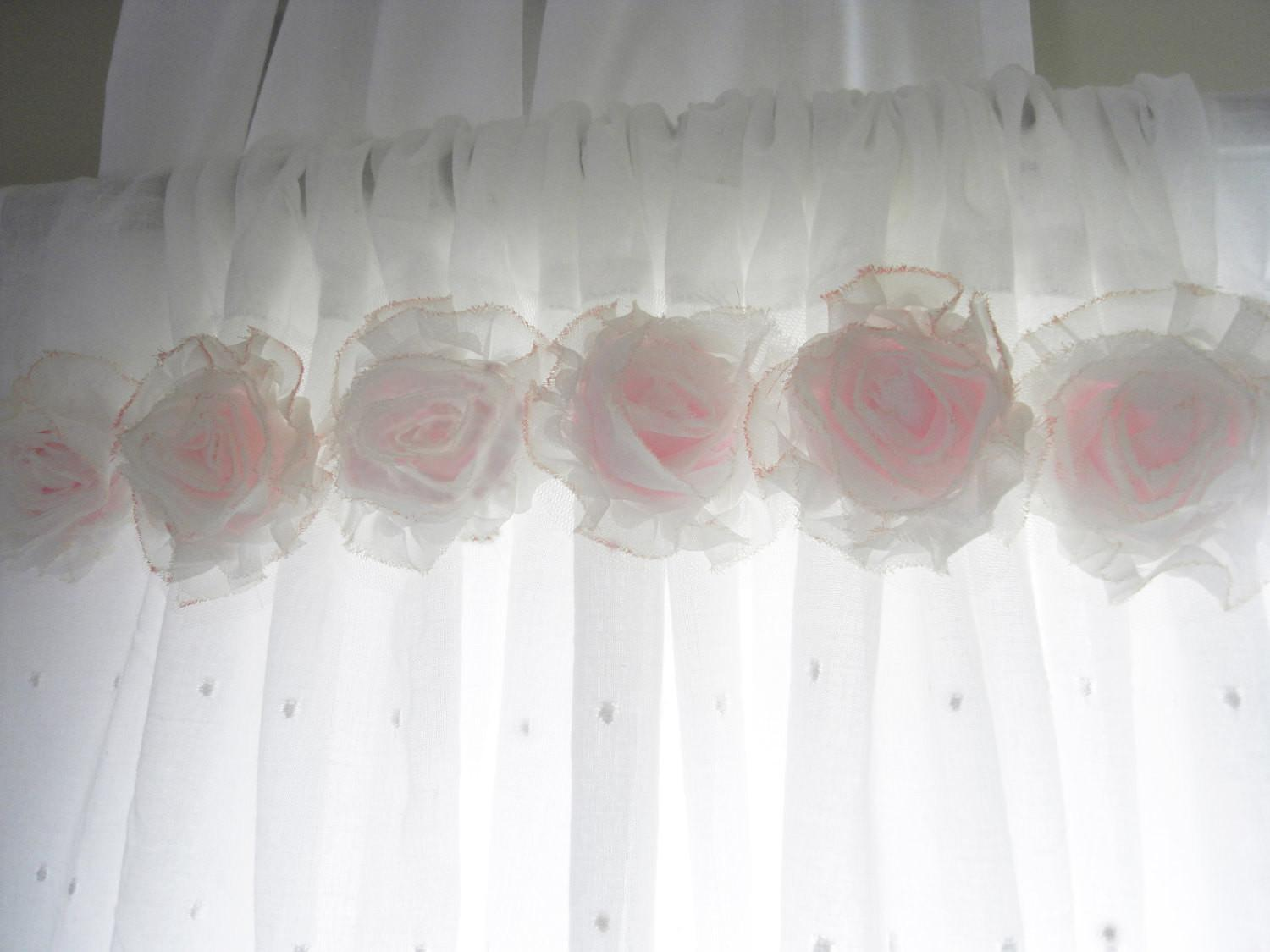 Shabby Chic Pink Flower Curtains Baby Nursery