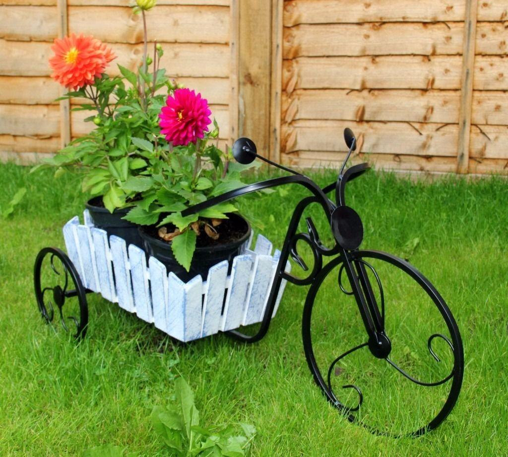 Shabby Chic Planter Basket Bicycle Garden Outdoor Patio