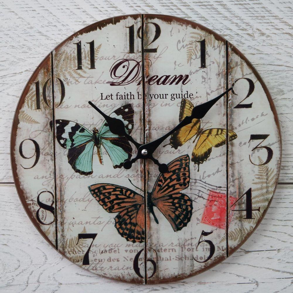 Shabby Chic Rustic Vintage Round Cream Butterfly Dream