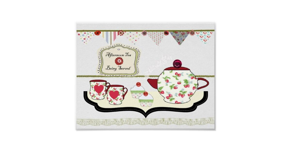 Shabby Chic Style Kitchen Wall Decor Cup Tea Poster