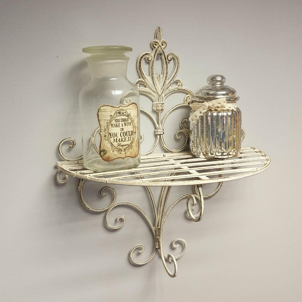 Shabby Chic Vintage Style Sconce Wall Shelf Display Metal