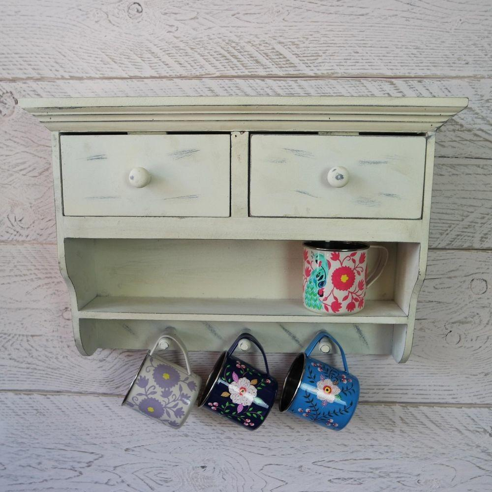 Shabby Chic Vintage White Wooden Cabinet Kitchen Wall