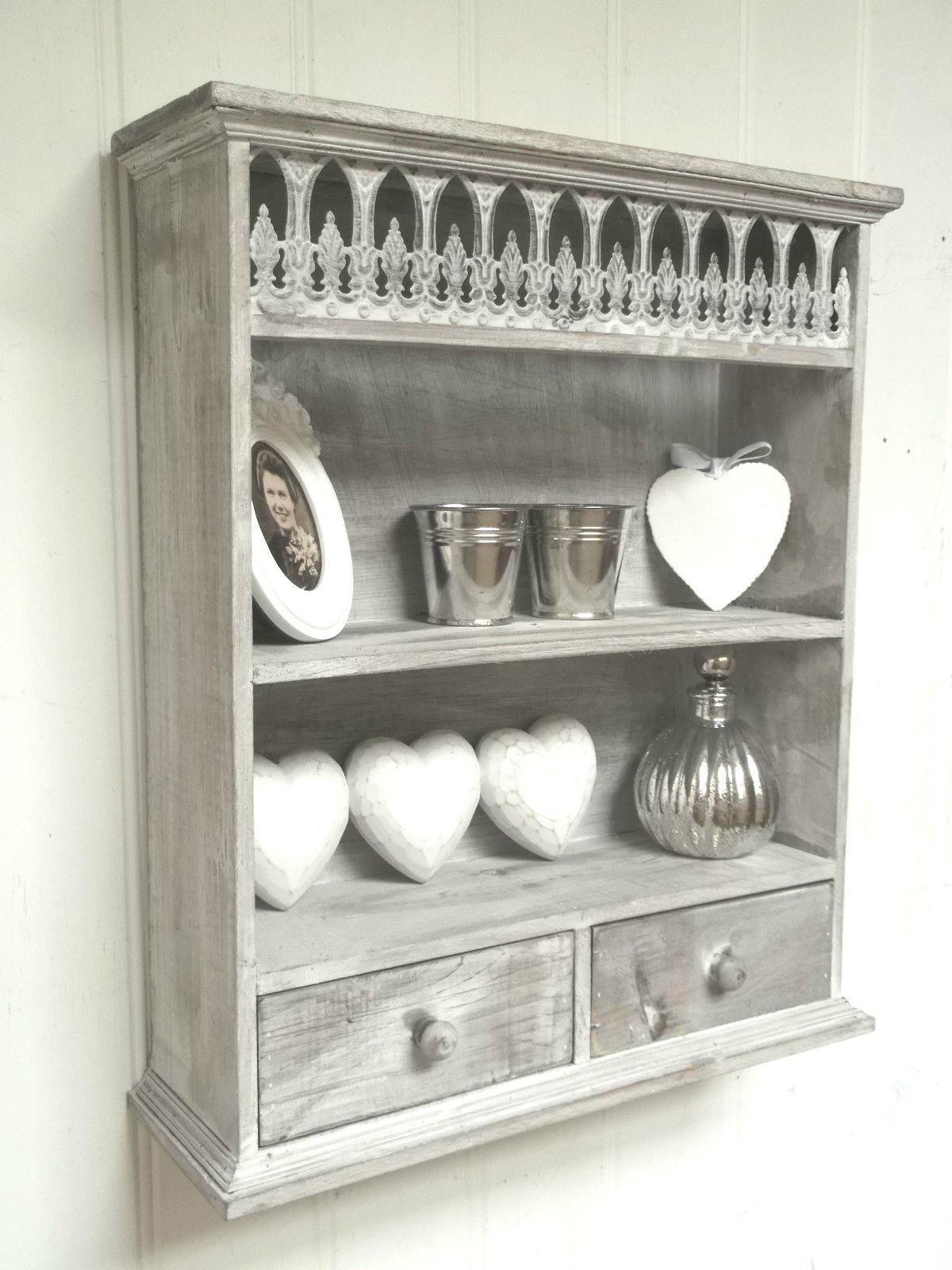 Shabby Chic Wall Unit Shelf Storage Cupboard Cabinet