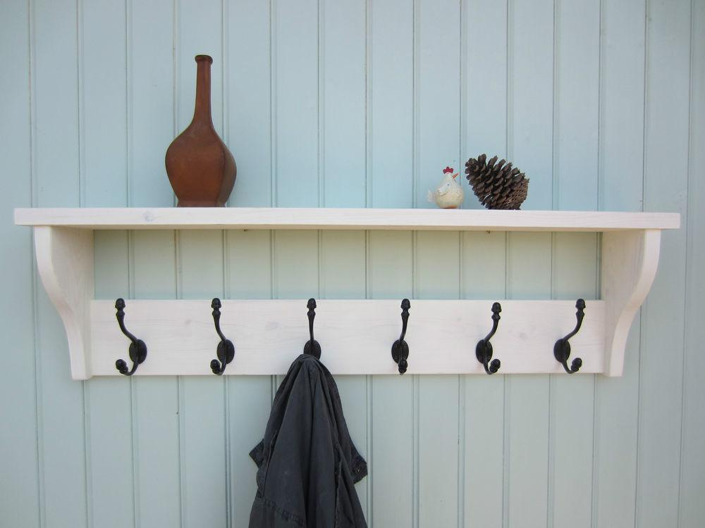 Shabby Chic White Washed Hat Coat Rack Shelf Acorn