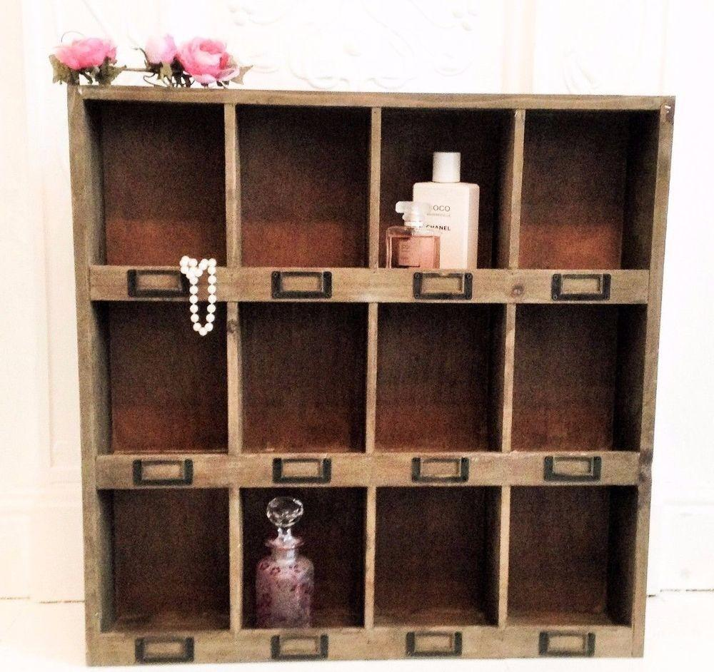 Shabby Chic Wooden Wall Cabinet Shelf Rustic Pigeon Hole