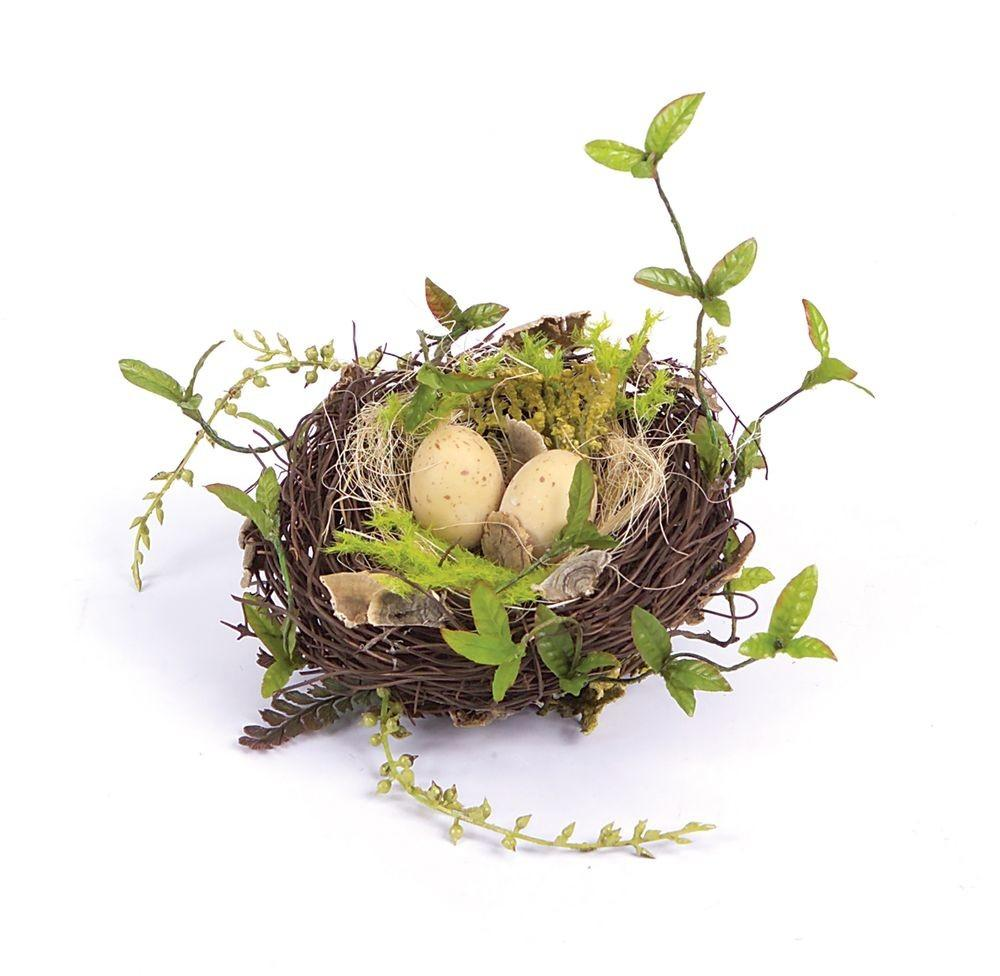 Shabby Cottage Chic Decorative Bird Nest Speckled Eggs
