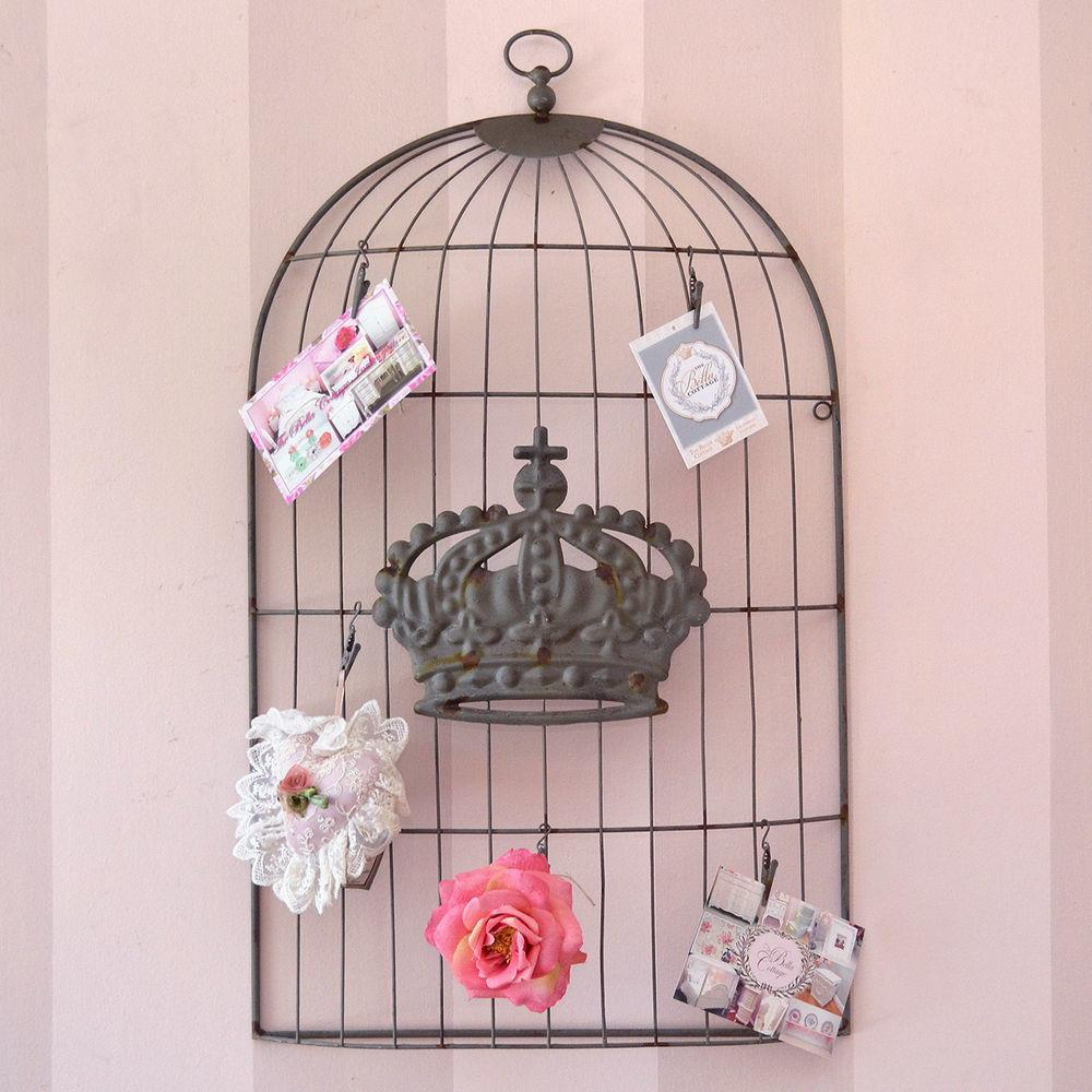 Shabby Cottage Chic Large Metal Wall Decor Art Bird Cage