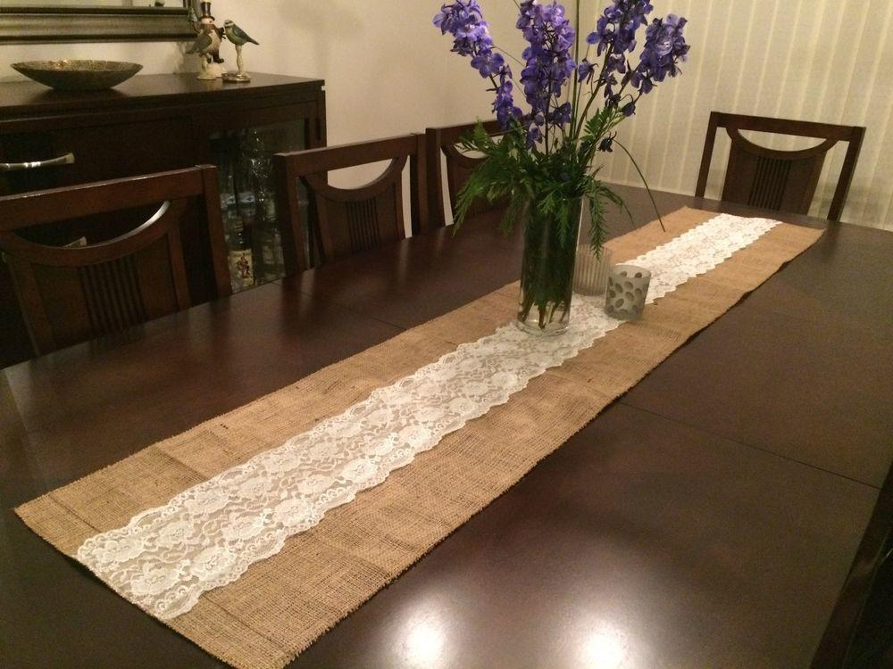 Shabby Rustic Chic Burlap Lace Table Runners Inches