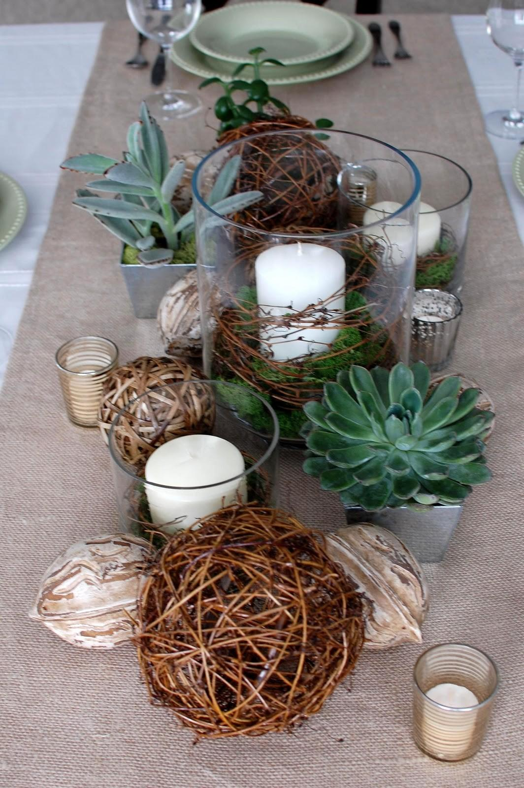 Shades Green Natural Elements Tablescape
