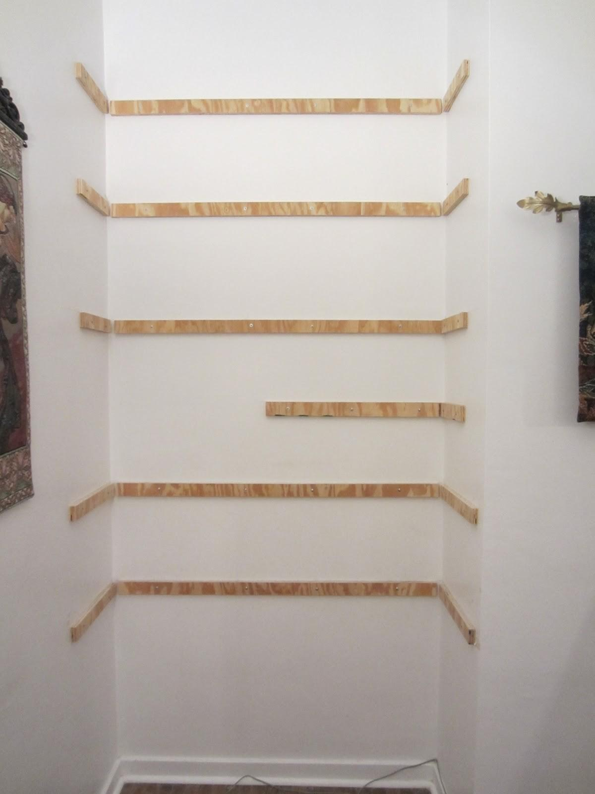 Shaped Diy Built Bookcase Small White Stucco Wall