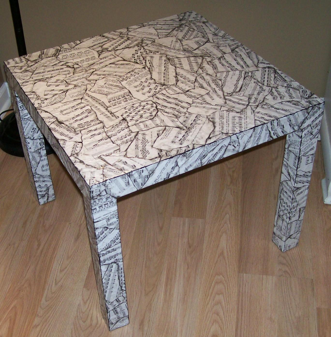 Sheet Music Table Makeover Decoupage
