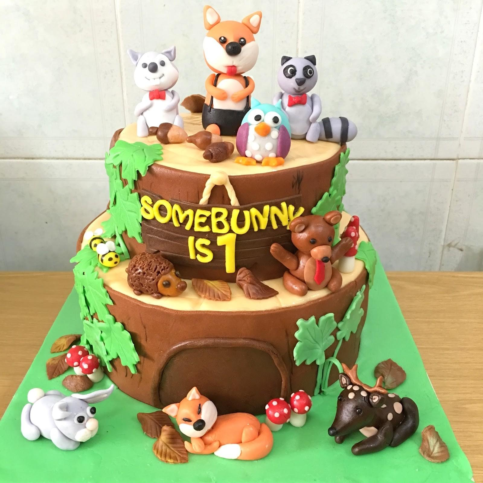Sherbakes Woodland Creature Theme 1st Birthday Cake