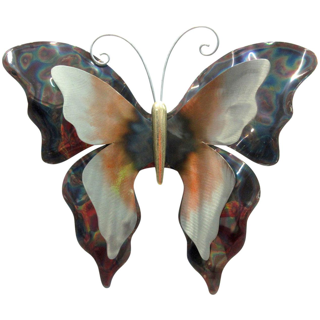 Shiny Metal Butterfly Wall Plaque Home