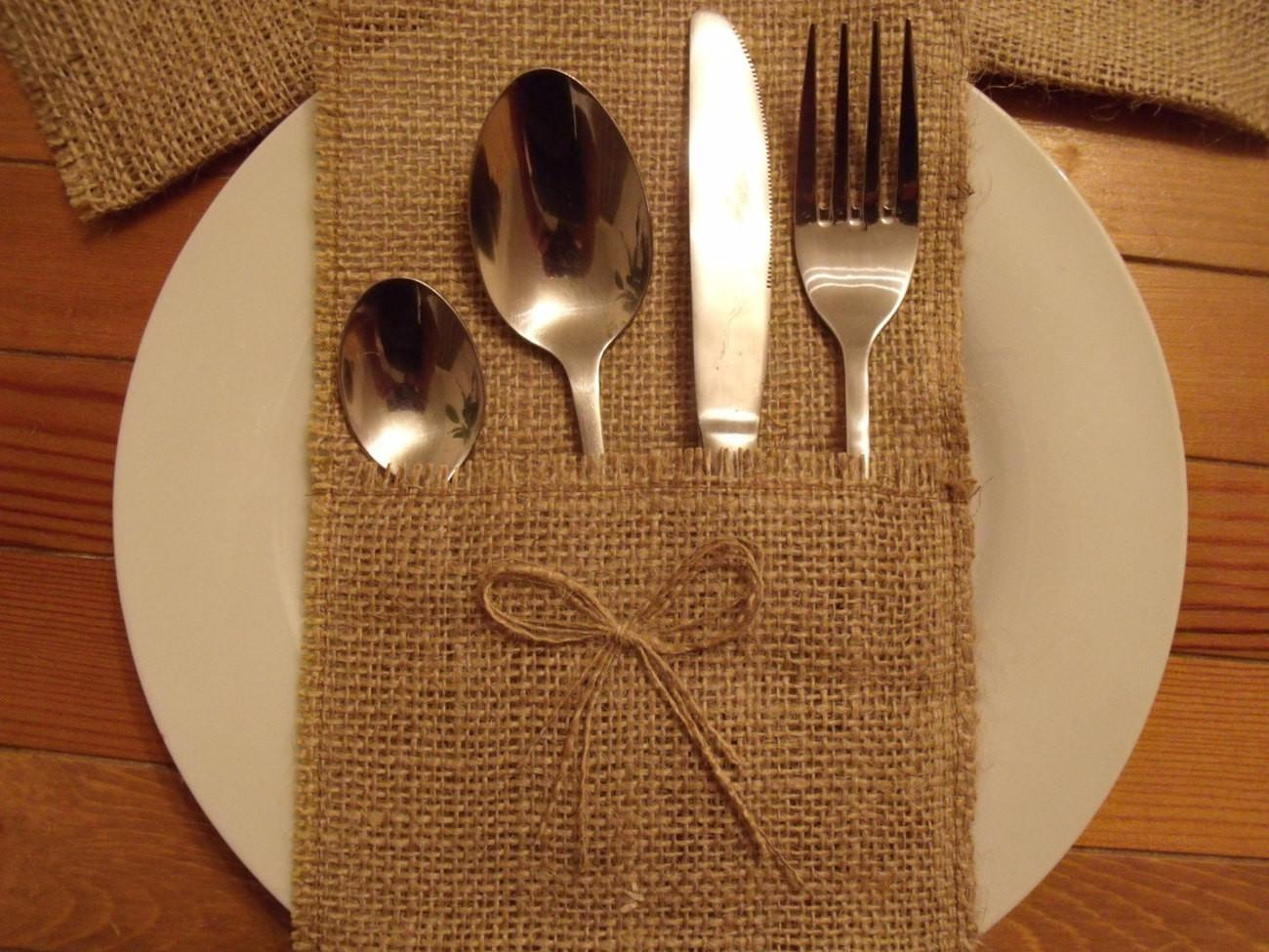 Shipping 100 Burlap Silverware Holders One Bows