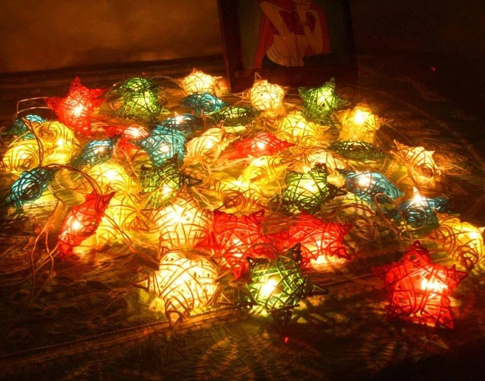 Shipping Colored Lighting Pentagram Rattan Woven
