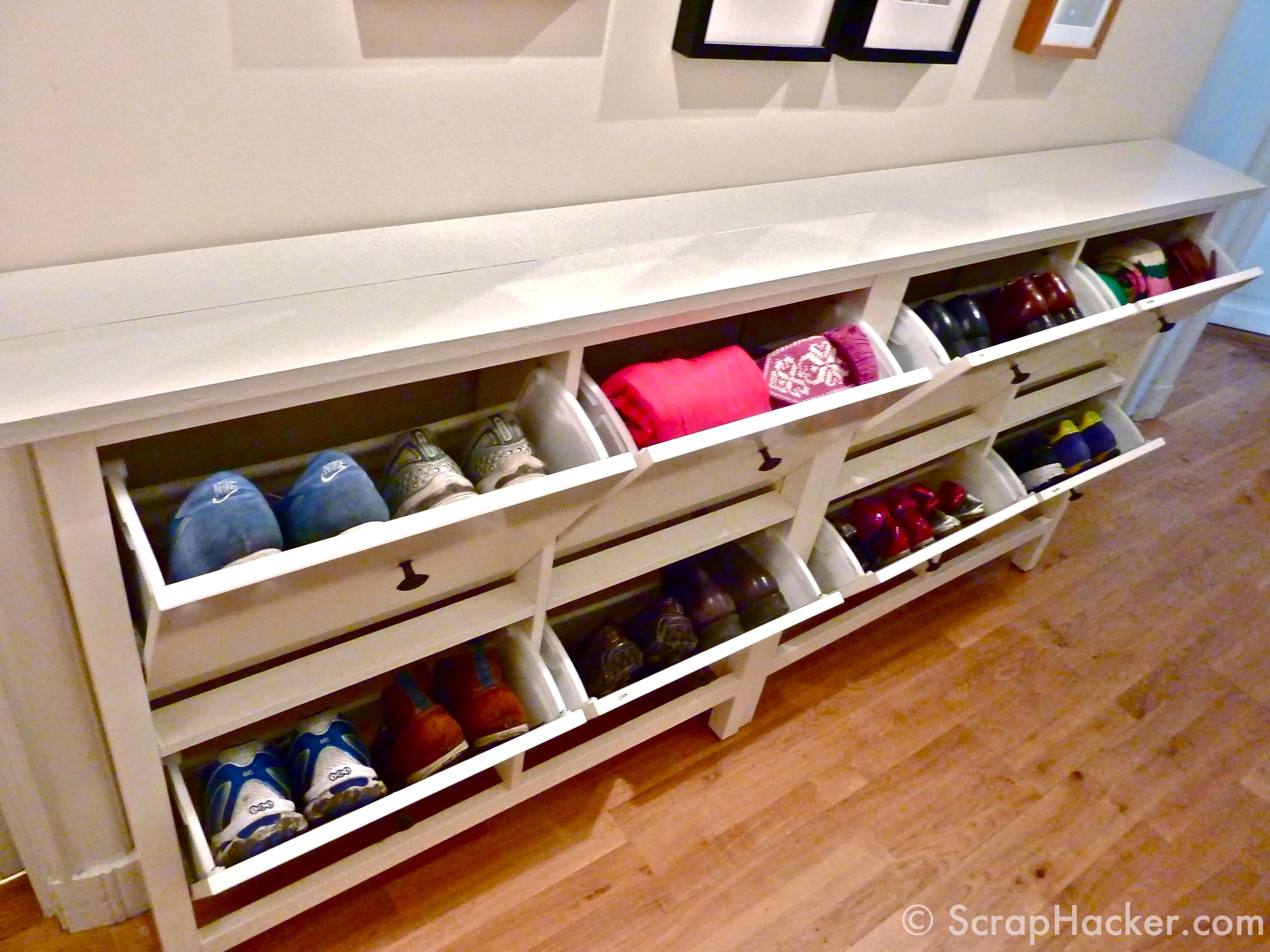 Shoe Bench Storage Solution Family Wooden