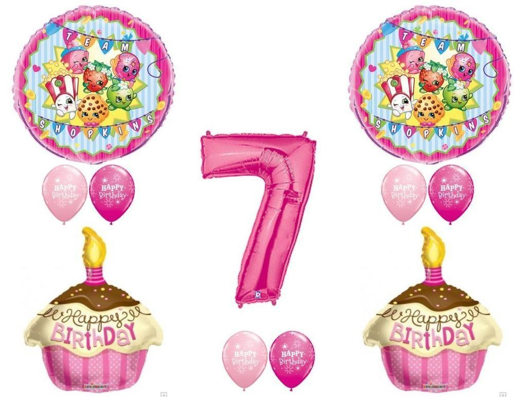 Shopkins 7th Birthday Girl Balloons Decoration Supplies