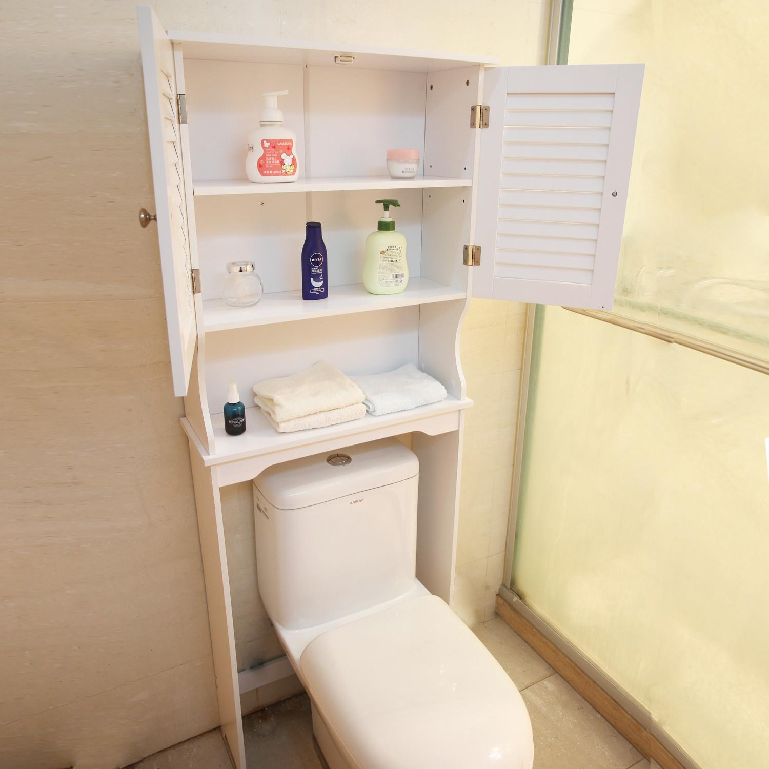 Shutter Doors White Wooden Bath Cabinet Shelf