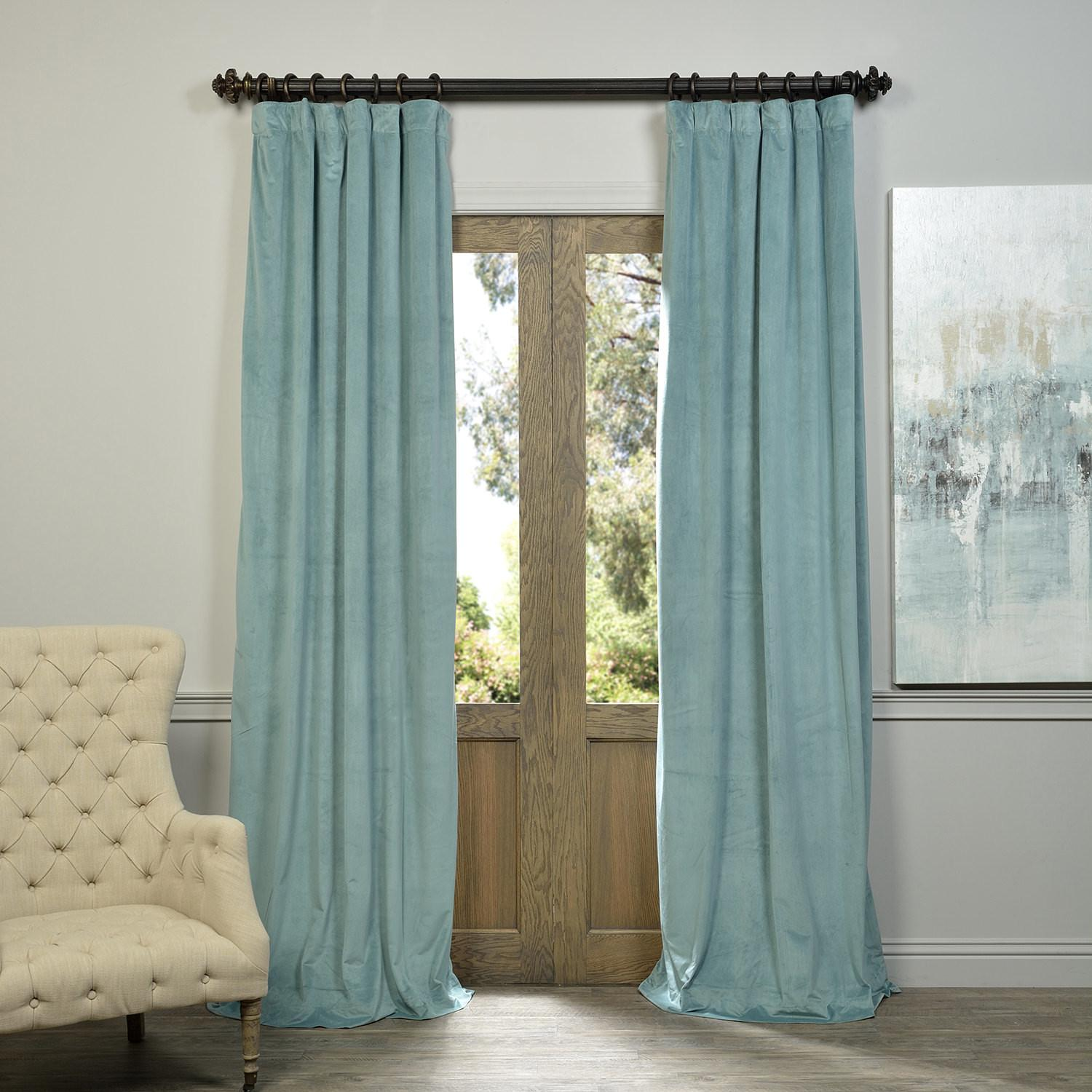 Signature Aqua Mist Blackout Velvet Curtains Drapes Decoratorist 36746