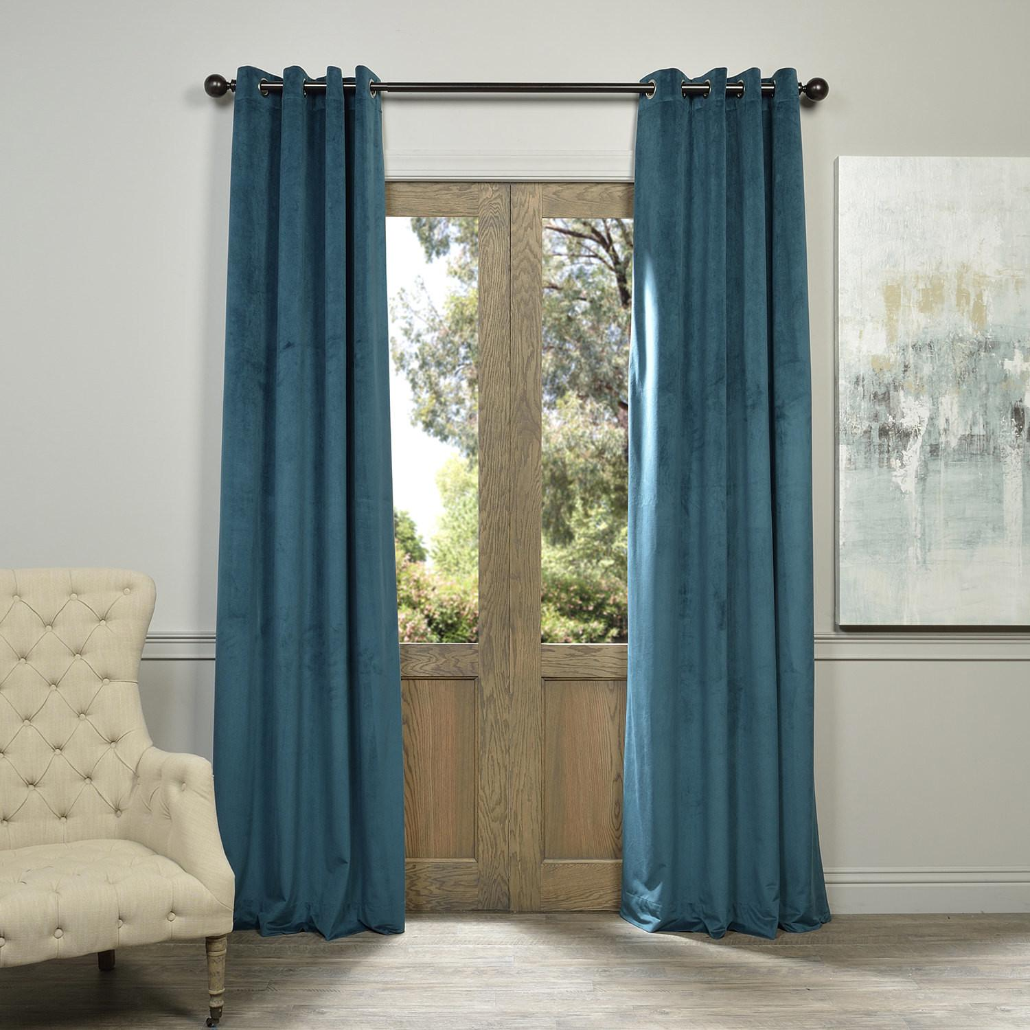 Signature Everglade Teal Grommet Blackout Velvet Curtains Decoratorist 36759