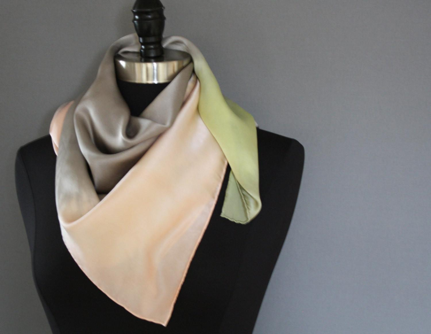 Silk Scarf Spring Pastel Light Grey Peach