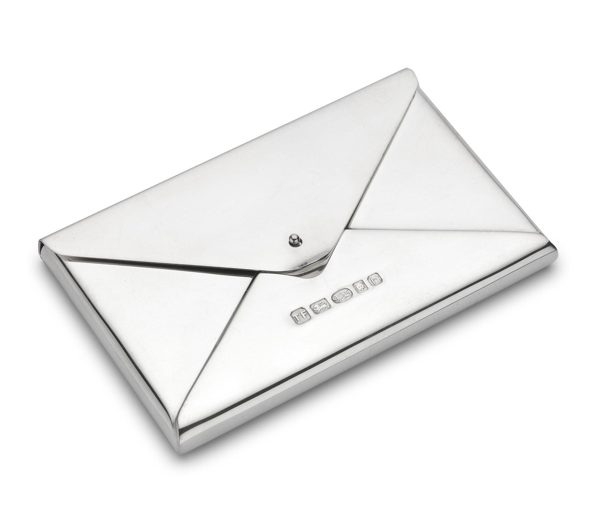 Silver Envelope Style Business Card Holder All