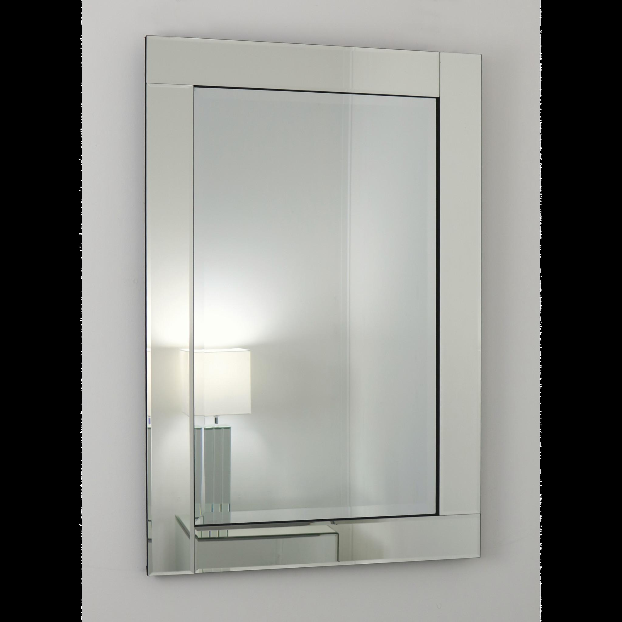 Silver Glass Framed Rectangular Mirror