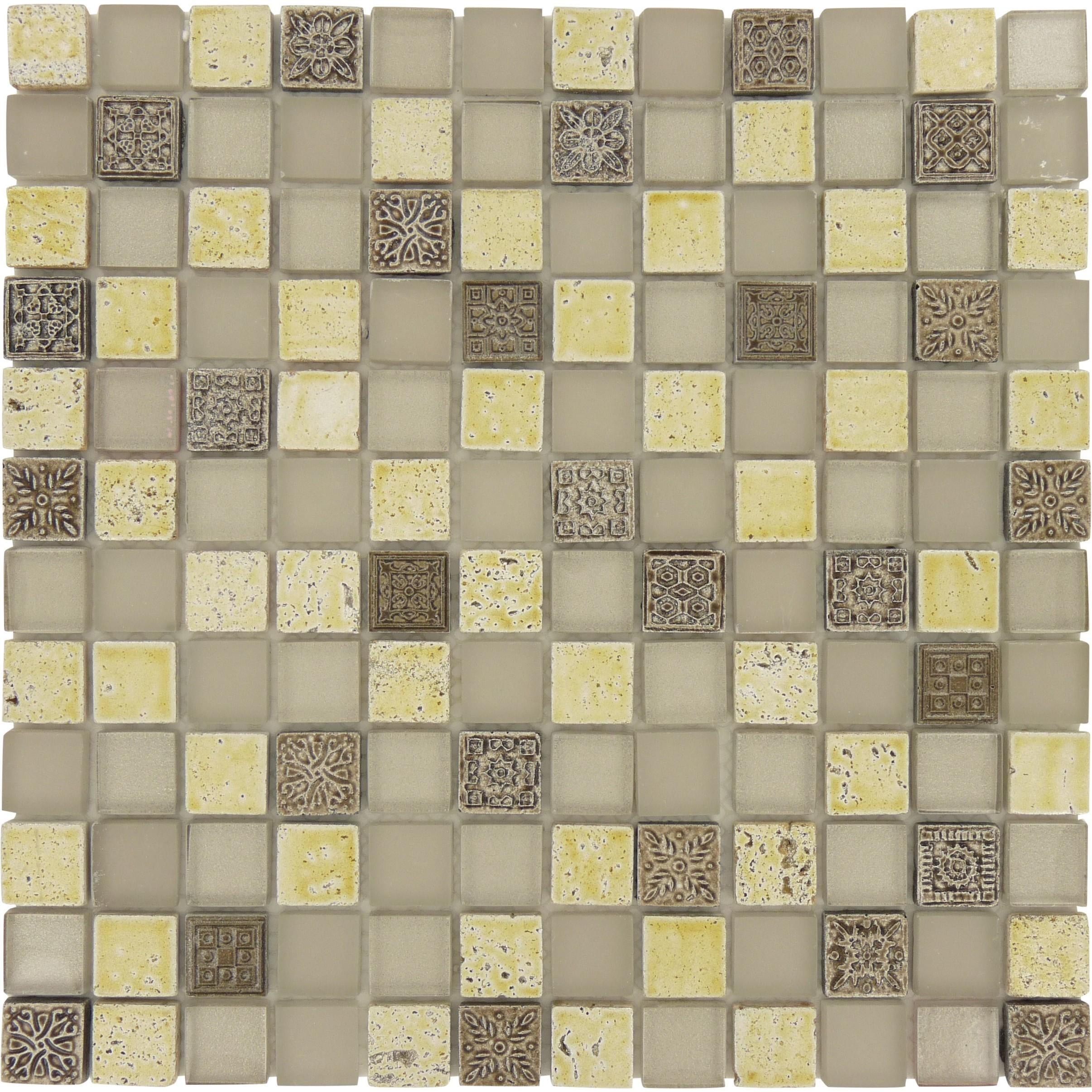 Silver Glass Stone Tile Glossy Frosted