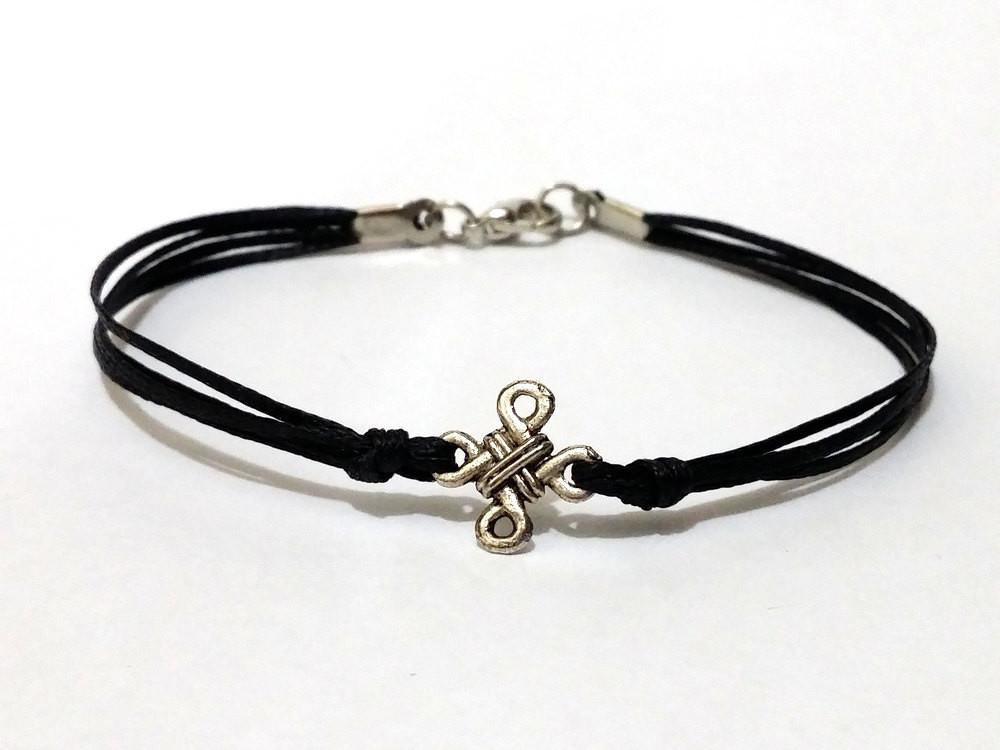 Silver Infinity Knot Wax Cord Bracelet Clasp Closure Mens