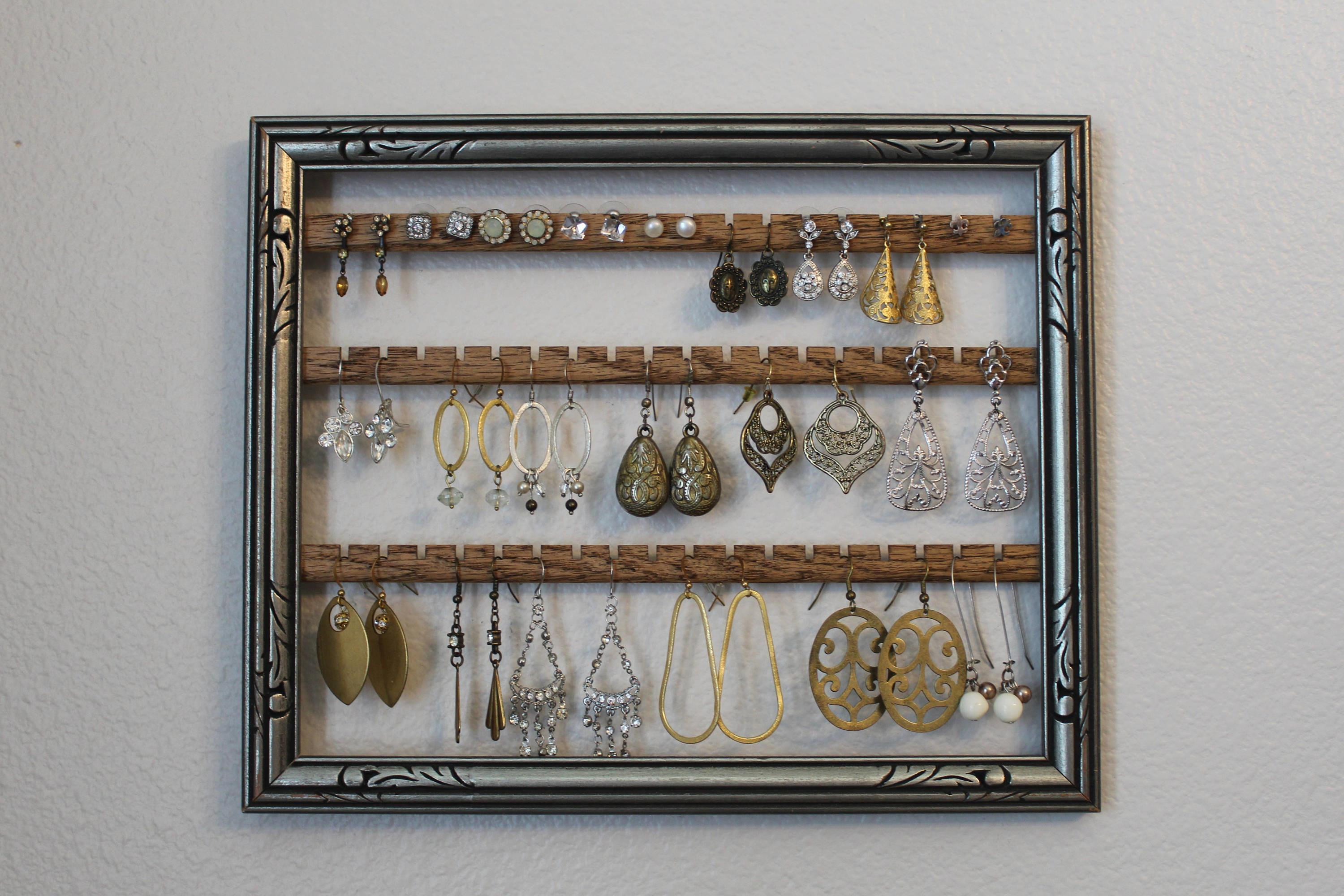 Silver Jewelry Holder Frame Hanging Earring Organizer