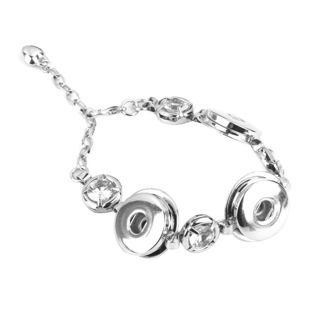 Silver Rhinestone Snap Button Charm Cuff Bracelet Bangle