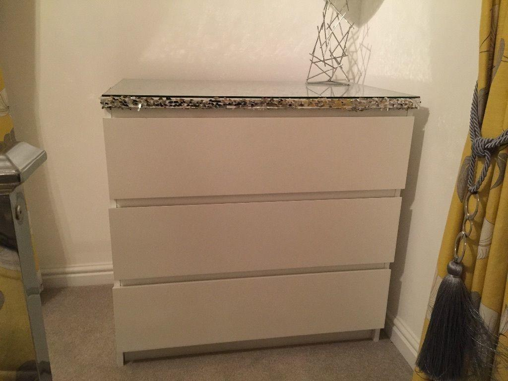 Silver Sequin Customised White Malm Chest Drawers