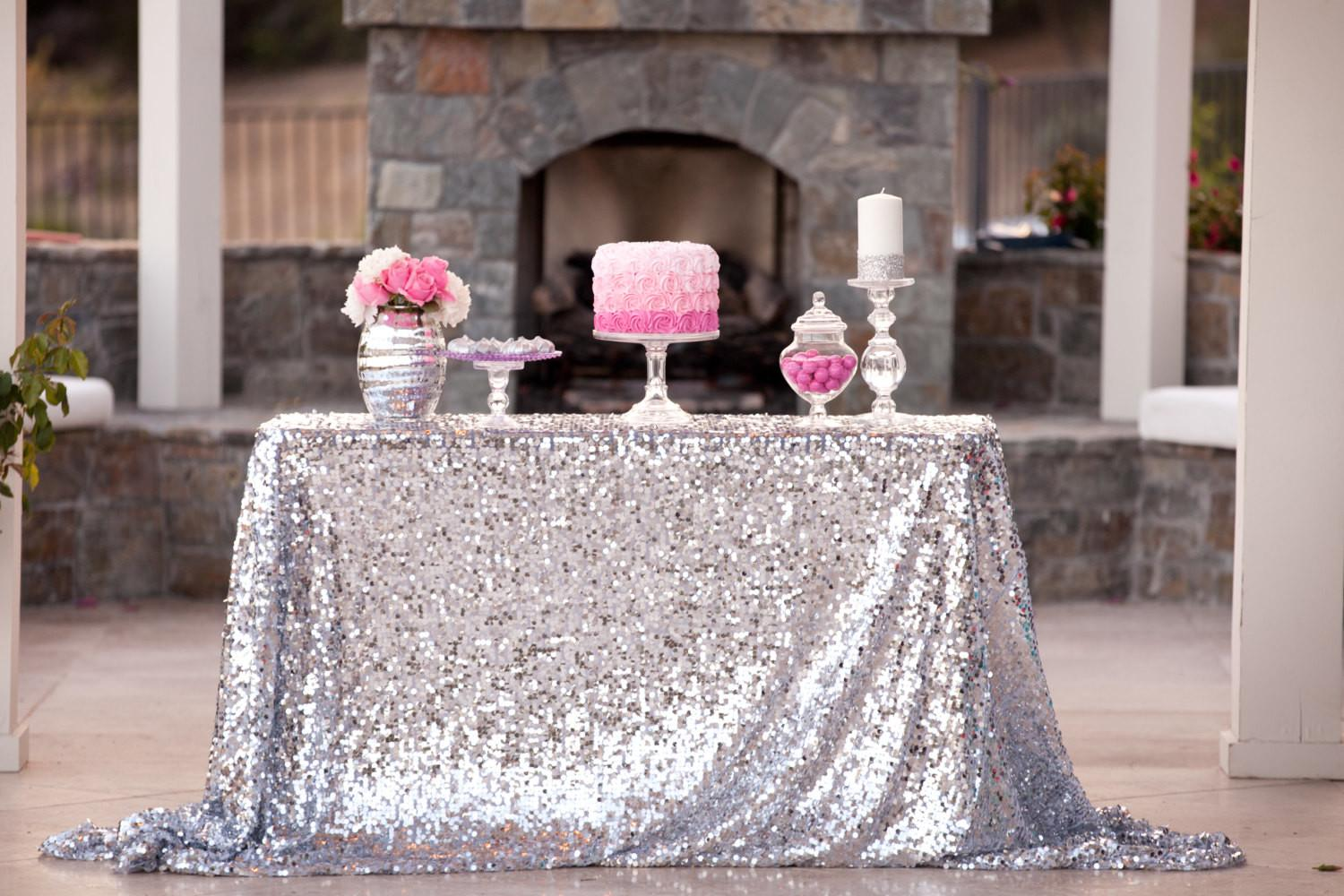 Silver Sequin Tablecloth Custom Sizes Candycrushevents