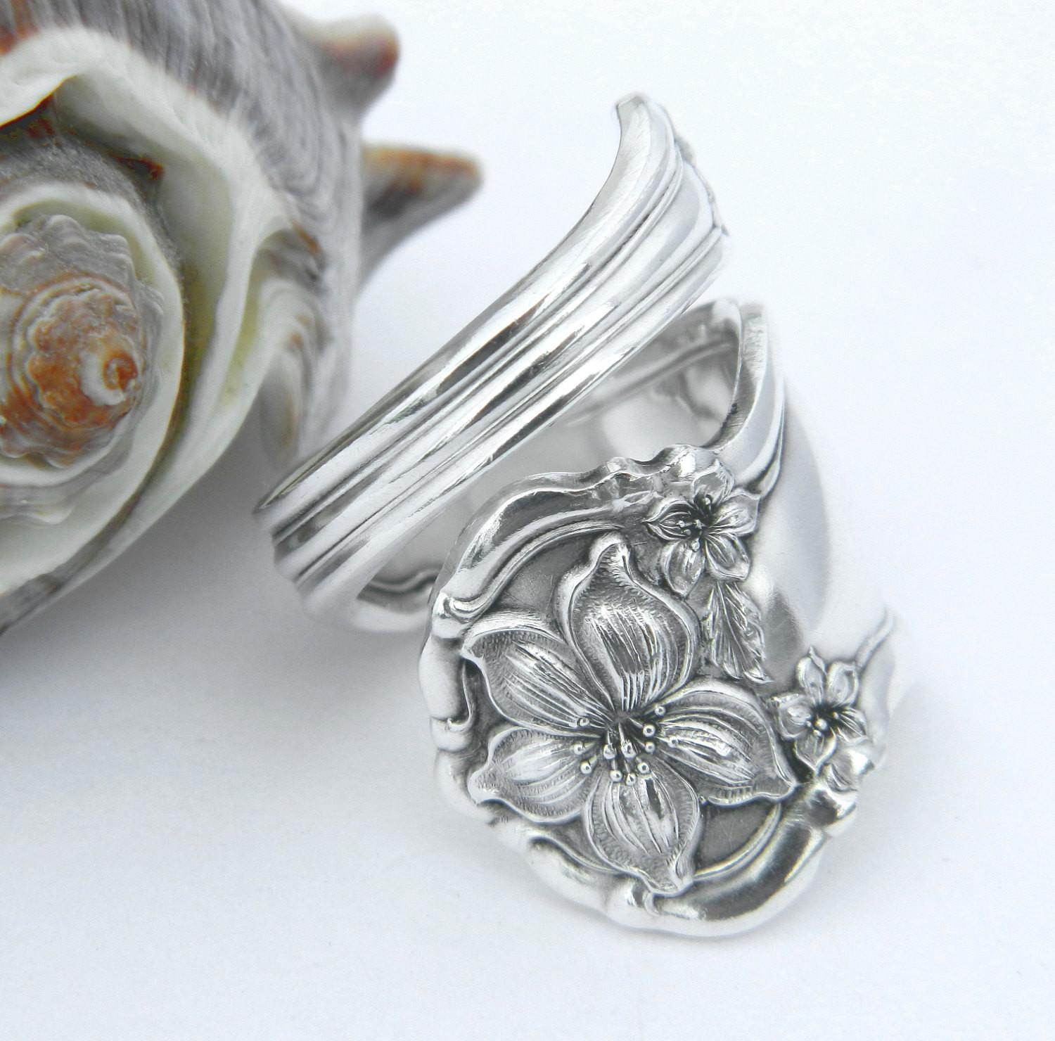 Silver Spoon Ring Orange Blossom 1910 Silverware Jewelry