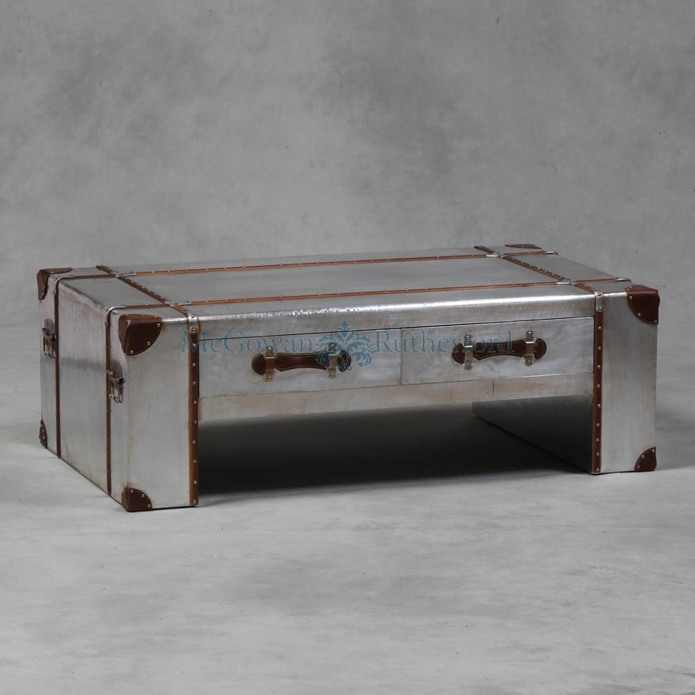 Silver Trunk Coffee Table Fully Functional Antique