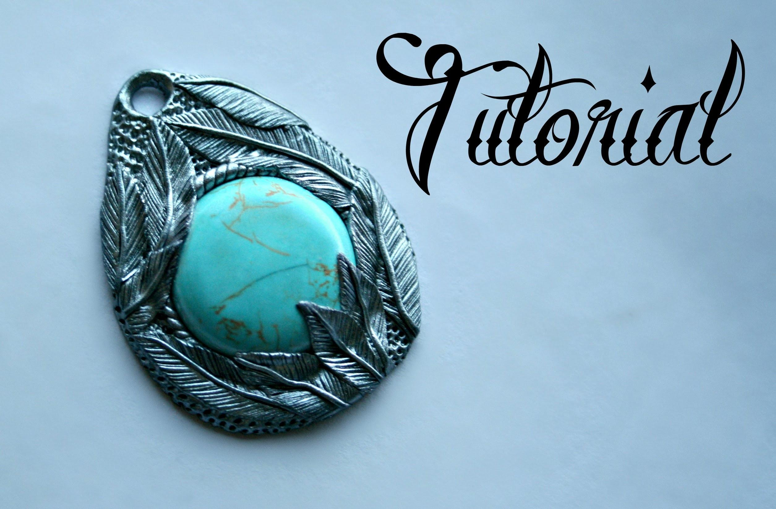 Silver Turquoise Polymer Clay Feather Pendant Tutorial