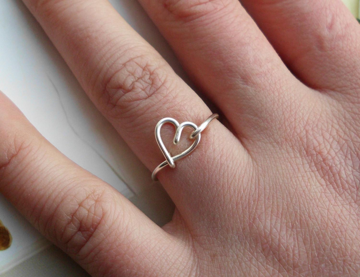 Silver Wire Heart Ring Non Adjustable Dainty