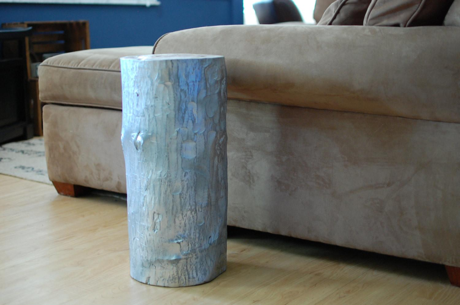 Silver Wood Stump Table Furniture Sumsouthernsunshine