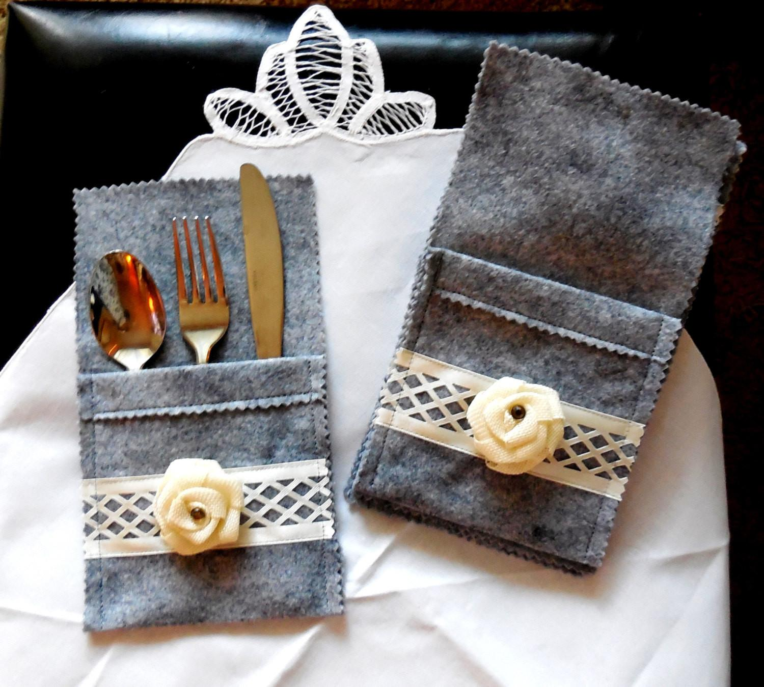Silverware Holder Pocket Rustic Style Table
