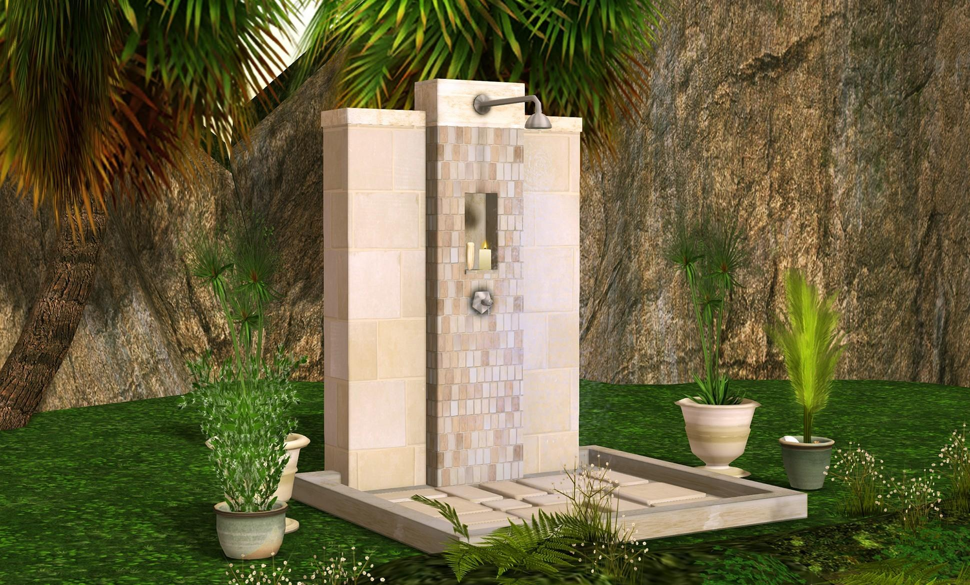 Simple Beautiful Outdoor Shower Designs Ideas