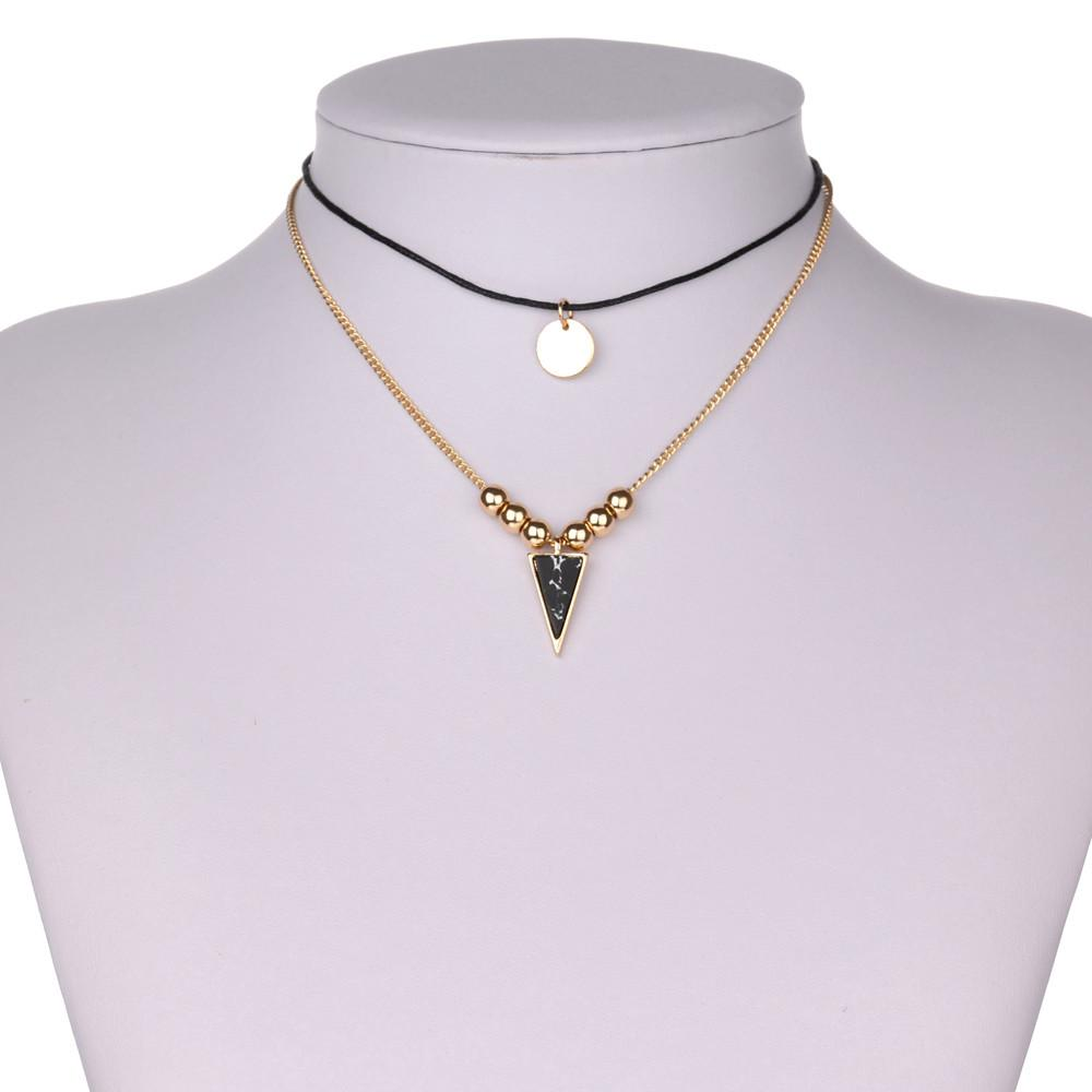 Simple Costume Accessories Gold Beads Leather Chokers