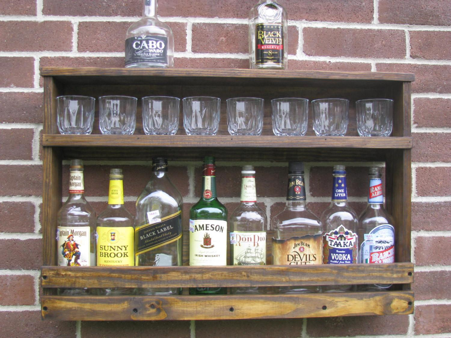 Simple Diy Liquor Cabinet Ideas Exposed Brick Wall