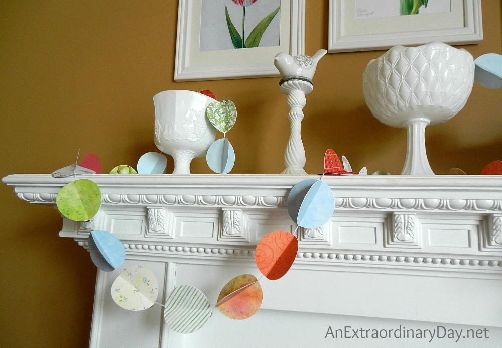 Simple Dramatic White Mantel Spring Color Pops