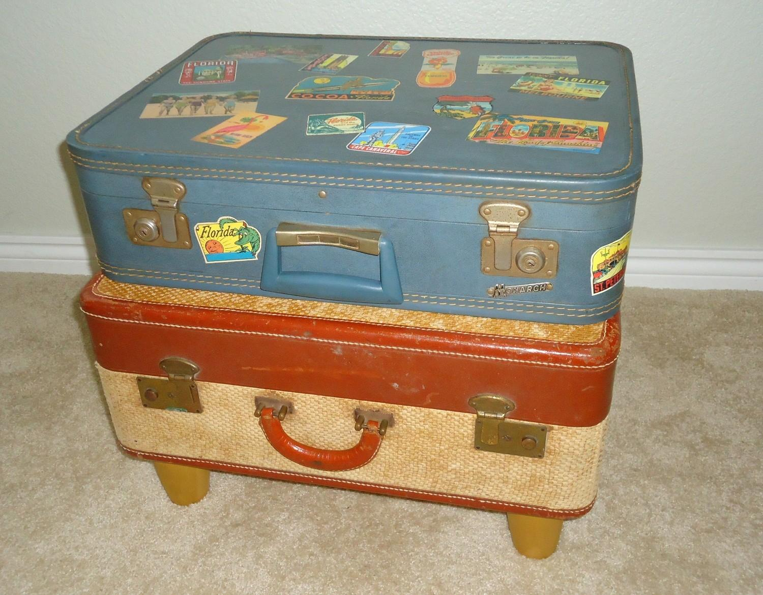 Simple Easy Diy Stacked Suitcase Nightstand Low