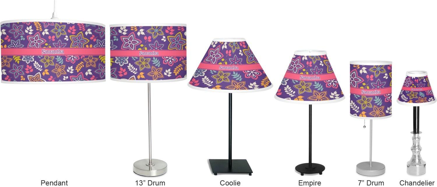 Simple Floral Drum Lamp Shade Linen Personalized