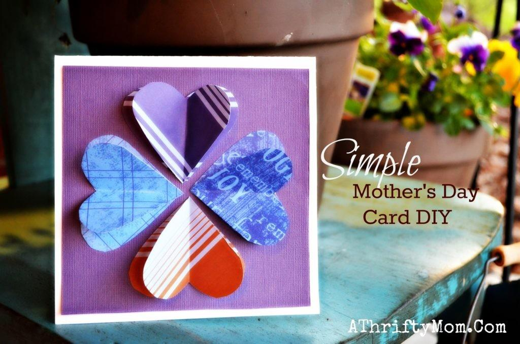 Simple Mother Day Card Diy Heart Bloom